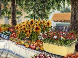Собирать пазл Цветы в ящике онлайн