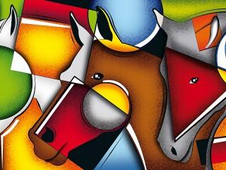 Собирать пазл Цветные кони онлайн