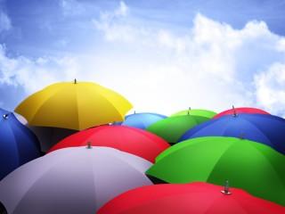 Собирать пазл Цветные зонты онлайн