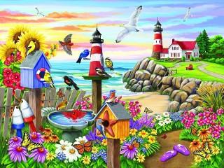 Собирать пазл Цветник у моря онлайн