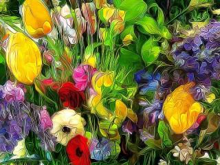 Собирать пазл Цветочная абстракция онлайн