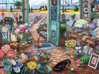 Собирать пазл Цветочный магазин онлайн