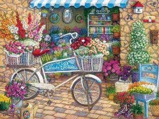 Собирать пазл Цветочный магазинчик онлайн
