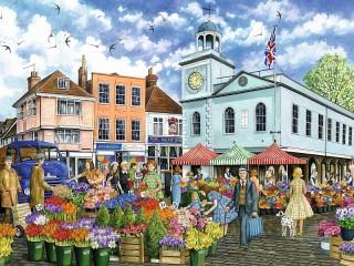 Собирать пазл Цветочный рынок онлайн