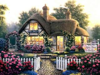 Собирать пазл Цветочный бутик  онлайн