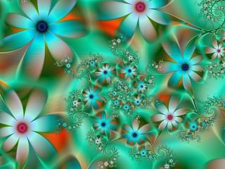 Собирать пазл Цветочный фрактал онлайн