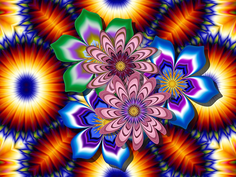 Пазл Собирать пазлы онлайн - Цветочный фрактал