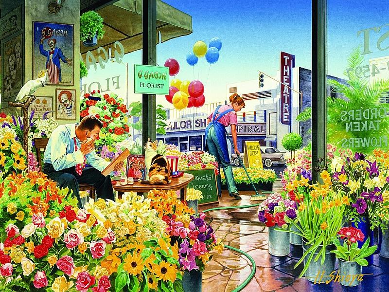 Пазл Собирать пазлы онлайн - Цветочный магазин