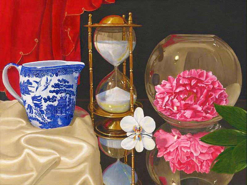 Пазл Собирать пазлы онлайн - Цветок и часы