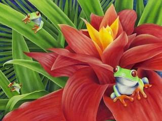 Собирать пазл Цветок и лягушки онлайн