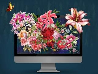 Собирать пазл Цветущий монитор онлайн