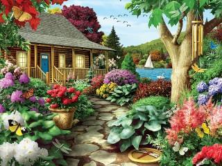 Собирать пазл Цветущий сад онлайн