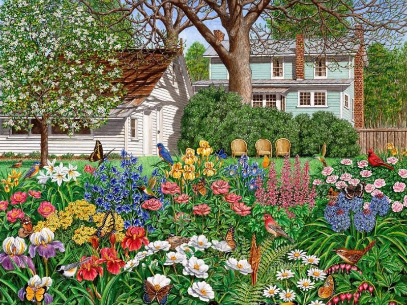 Пазл Собирать пазлы онлайн - Цветущий сад