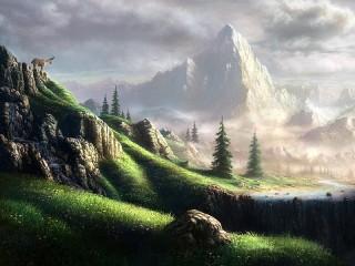Собирать пазл Туманные горы онлайн
