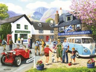 Собирать пазл Туристы в деревне онлайн