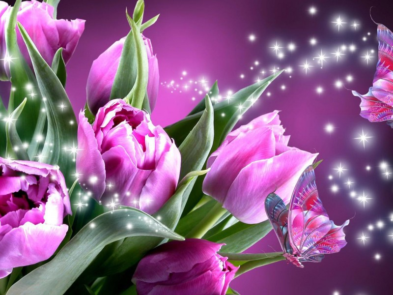 Пазл Собирать пазлы онлайн - Тюльпаны и бабочки