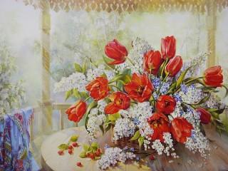 Собирать пазл Тюльпаны и черемуха онлайн