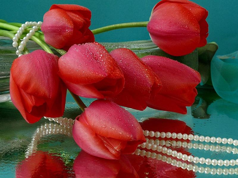 Пазл Собирать пазлы онлайн - Тюльпаны и жемчуг