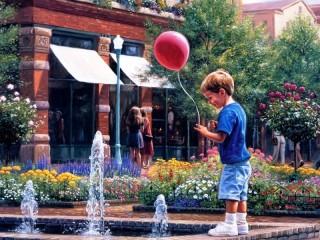 Собирать пазл У фонтана онлайн
