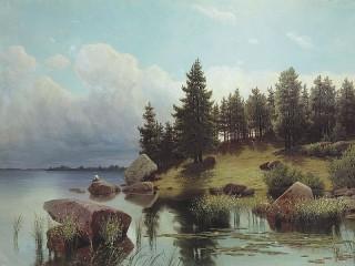 Собирать пазл У лесного озера онлайн