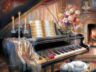Собирать пазл У рояля онлайн