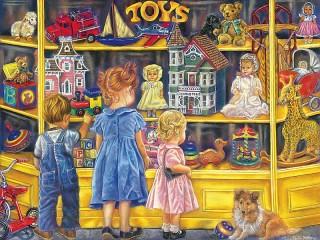 Собирать пазл У витрины с игрушками онлайн