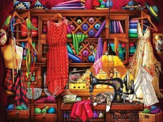 Собирать пазл Уголок рукодельницы онлайн