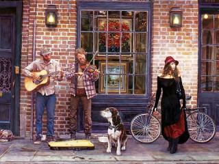 Собирать пазл Уличные музыканты онлайн