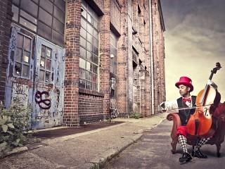 Собирать пазл Уличный музыкант онлайн