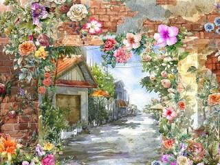 Собирать пазл Улица в цветах онлайн