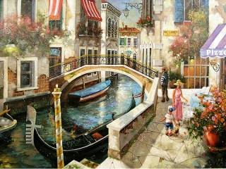 Собирать пазл Улочка в Венеции онлайн