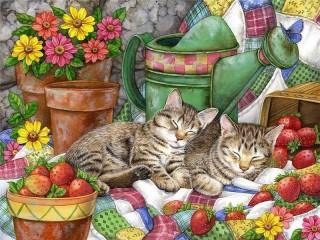 Собирать пазл Натюрморт с котятами онлайн