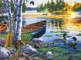 Собирать пазл Утро на озере онлайн