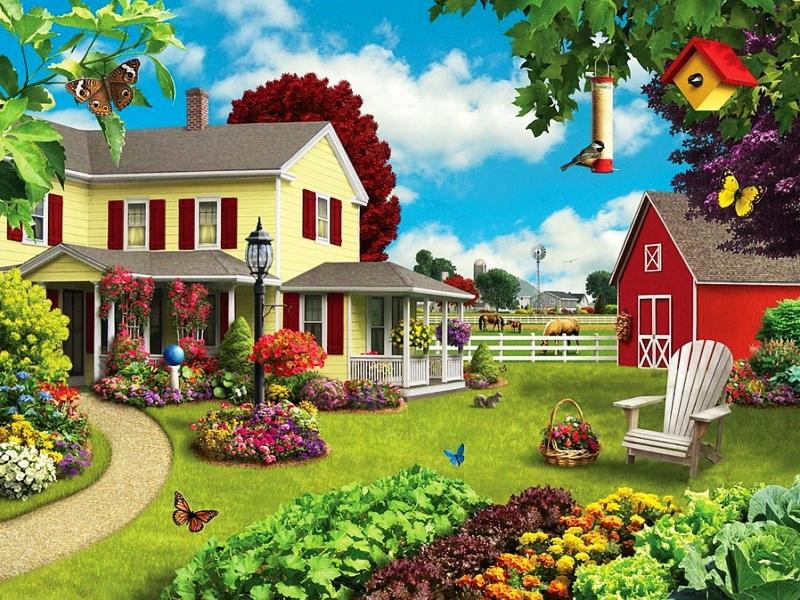 Пазл Собирать пазлы онлайн - Уютный двор