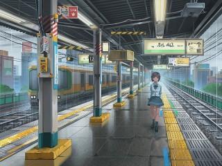 Собирать пазл В дождь на станции онлайн