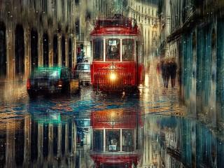 Собирать пазл В городе дождь онлайн