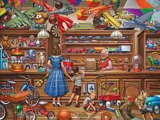 Собирать пазл В магазине игрушек онлайн