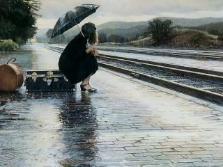 Собирать пазл В ожидании поезда онлайн