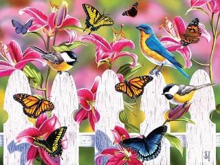 Собирать пазл Бабочки и птички онлайн