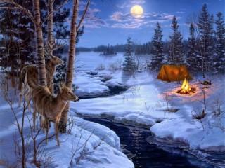Собирать пазл В зимнем лесу онлайн