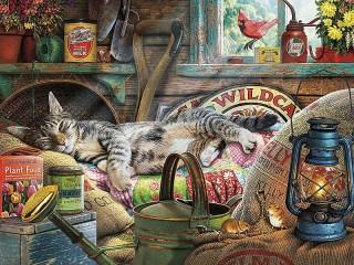 Собирать пазл Вальяжный кот онлайн