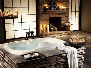 Собирать пазл Ванная с камином онлайн