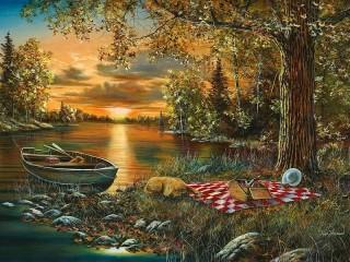 Собирать пазл Вечер на реке онлайн