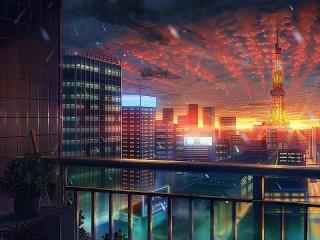 Собирать пазл Вечер над Токио онлайн