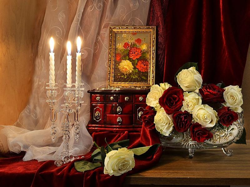 Пазл Собирать пазлы онлайн - Вечерние розы