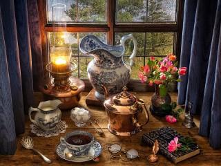Собирать пазл Вечерний чай онлайн
