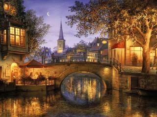Собирать пазл Вечерний город онлайн