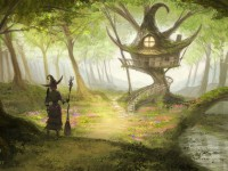 Собирать пазл Ведьма у избушки онлайн