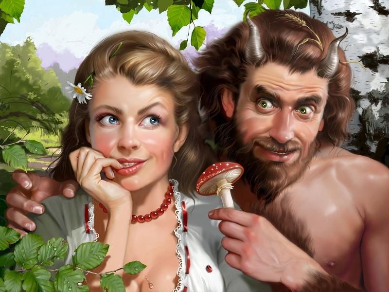 Пазл Собирать пазлы онлайн - Ведьмочка и Сатир