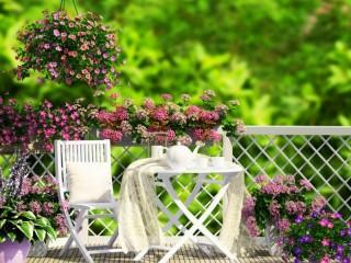Собирать пазл Веранда в цветах онлайн